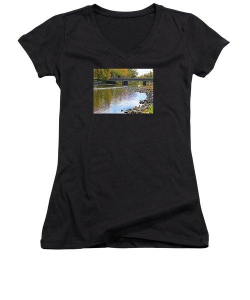 Autumn Along The Fox River Women's V-Neck T-Shirt