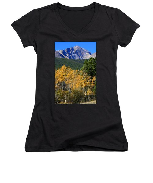 Autumn Aspens And Longs Peak Women's V-Neck