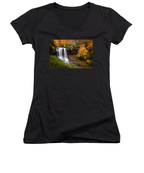 Autumn At Dry Falls - Highlands Nc Waterfalls Women's V-Neck