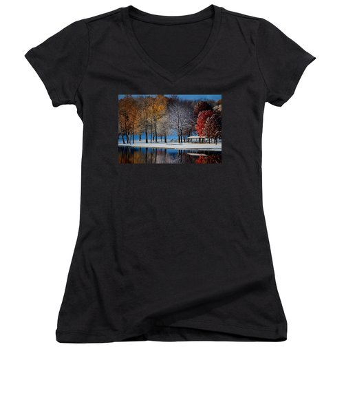 Autumn Blues Women's V-Neck T-Shirt