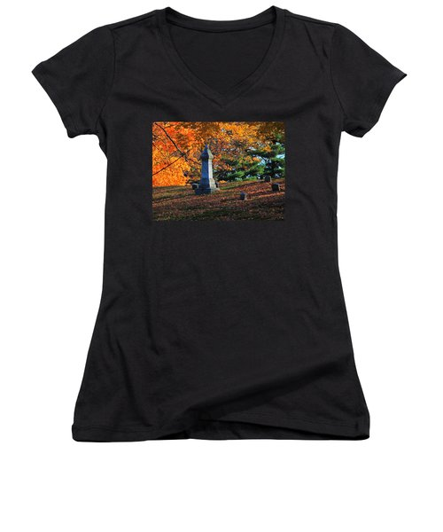 Autumn Cemetery Visit Women's V-Neck T-Shirt