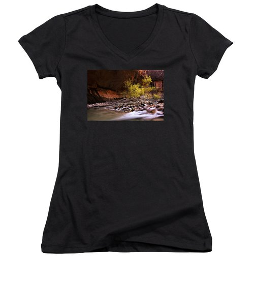 Women's V-Neck T-Shirt (Junior Cut) featuring the photograph Autumn Cottonwood In The Narrows by Andrew Soundarajan