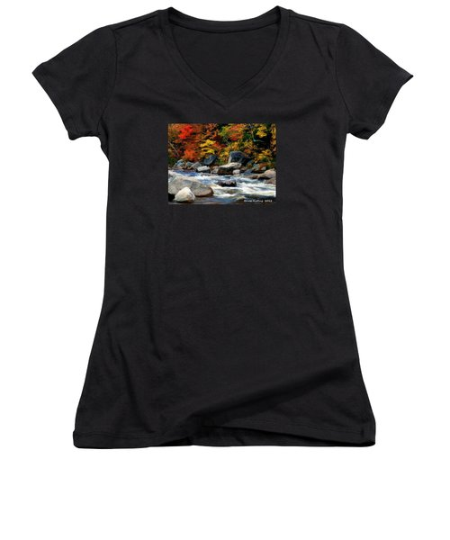 Women's V-Neck T-Shirt (Junior Cut) featuring the painting Autumn Creek by Bruce Nutting