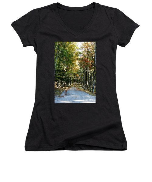 Autumn Drive Women's V-Neck T-Shirt (Junior Cut) by Barbara Bardzik