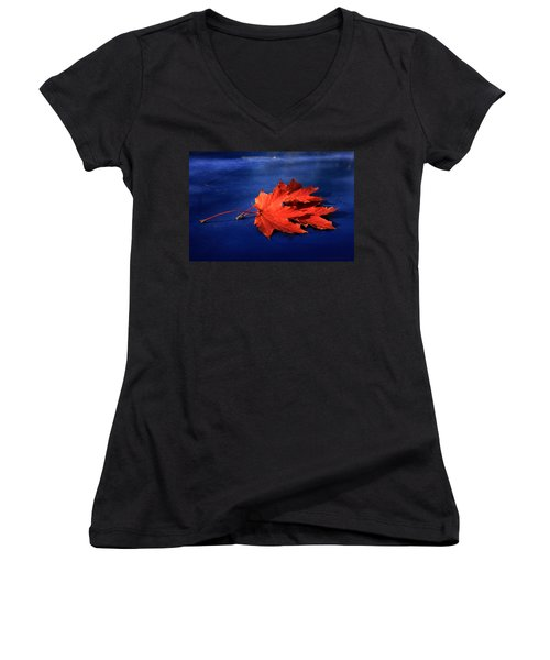 Autumn Fire Women's V-Neck T-Shirt (Junior Cut) by Leena Pekkalainen