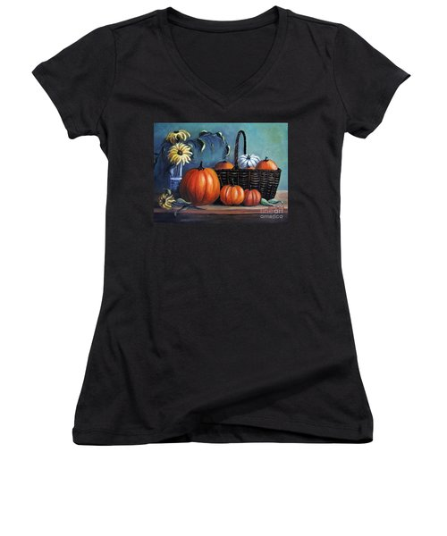Women's V-Neck T-Shirt (Junior Cut) featuring the painting Autumn Gifts by Vesna Martinjak