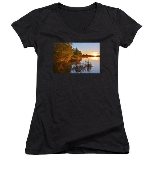 Autumn Glow At The Lake Women's V-Neck T-Shirt