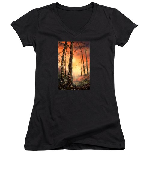 Women's V-Neck T-Shirt (Junior Cut) featuring the painting Autumn Glow by Jean Walker
