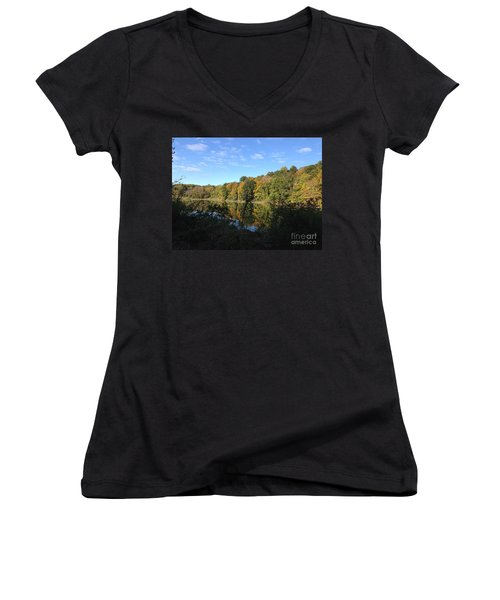 Autumn In New York Women's V-Neck (Athletic Fit)