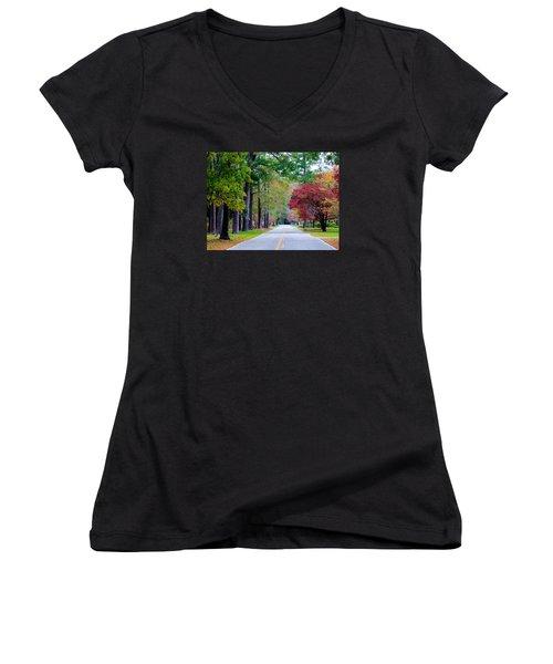 Women's V-Neck T-Shirt (Junior Cut) featuring the photograph Autumn In The Air by Cynthia Guinn