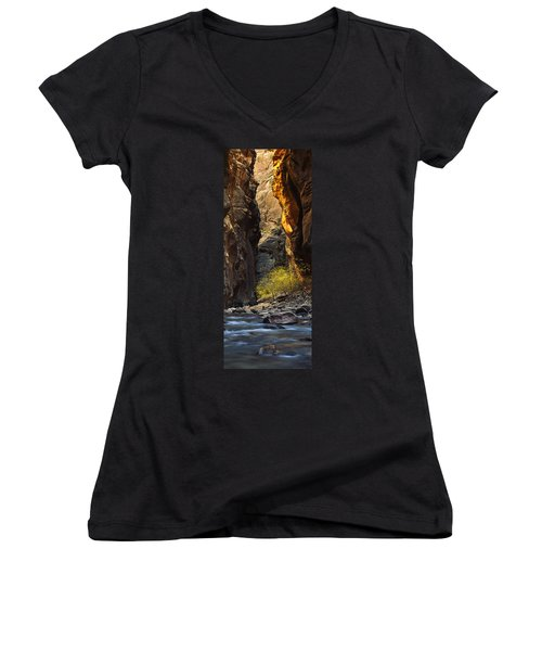 Women's V-Neck T-Shirt (Junior Cut) featuring the photograph Autumn In The Narrows by Andrew Soundarajan