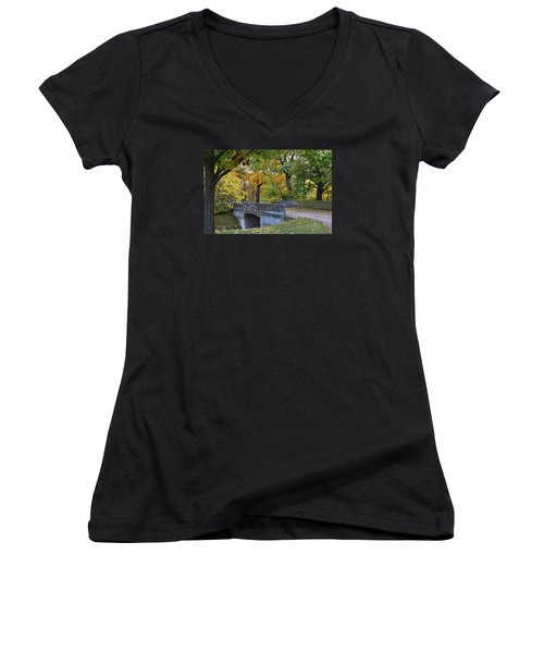 Autumn In The Park Women's V-Neck T-Shirt (Junior Cut) by Bruce Bley