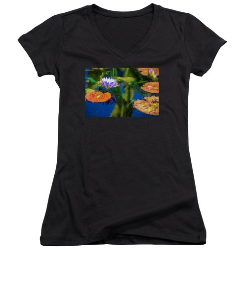 Autumn Lily Pad Impressions Women's V-Neck (Athletic Fit)