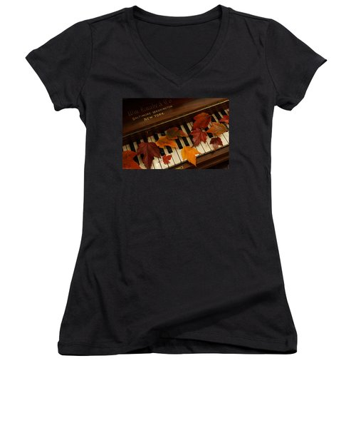 Autumn Piano 14 Women's V-Neck T-Shirt (Junior Cut) by Mick Anderson
