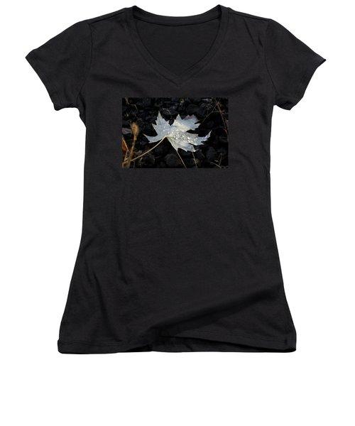 Women's V-Neck T-Shirt (Junior Cut) featuring the photograph Autumn Rain by Katie Wing Vigil