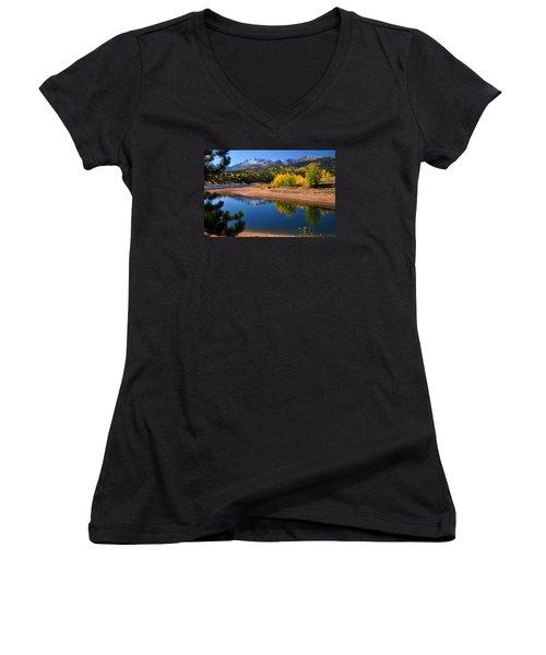 Autumn Reflections At Crystal Women's V-Neck T-Shirt (Junior Cut) by John Hoffman
