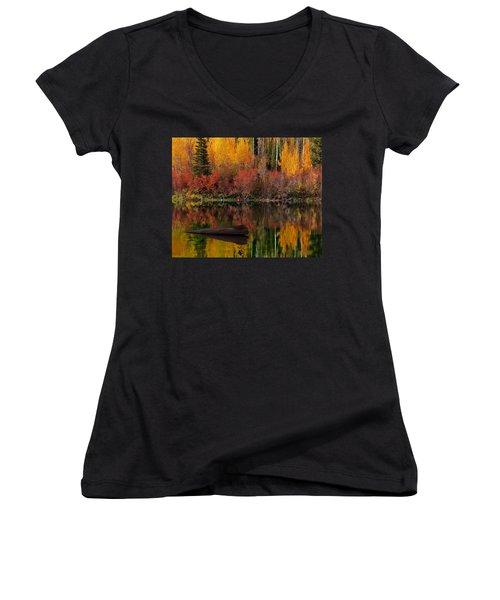 Autumn Reflections Women's V-Neck T-Shirt (Junior Cut) by Leland D Howard