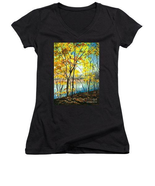 Autumn River Walk Women's V-Neck T-Shirt