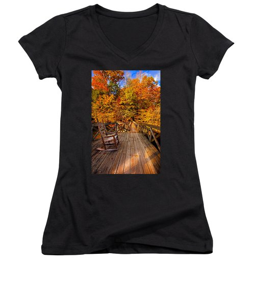 Autumn Rocking On Wooden Bridge Landscape Print Women's V-Neck (Athletic Fit)