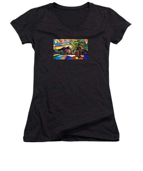 Autumn Sunrise Women's V-Neck T-Shirt (Junior Cut) by Everett Spruill