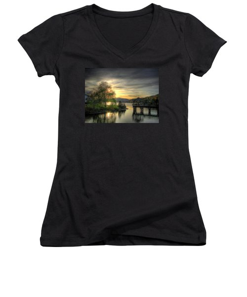 Women's V-Neck T-Shirt (Junior Cut) featuring the photograph Autumn Sunset by Nicola Nobile