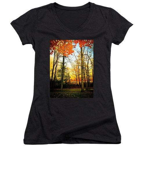 Women's V-Neck T-Shirt (Junior Cut) featuring the photograph Autumn Sunset  by Sara Frank