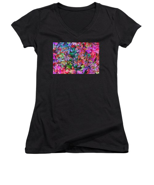 Autumn Virginia Creeper Women's V-Neck T-Shirt