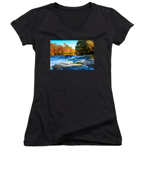 Amazing Autumn Flowing Waterfalls On The River  Women's V-Neck (Athletic Fit)