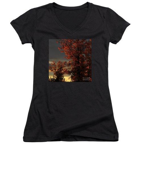 Autumn's First Light Women's V-Neck T-Shirt (Junior Cut) by James Eddy