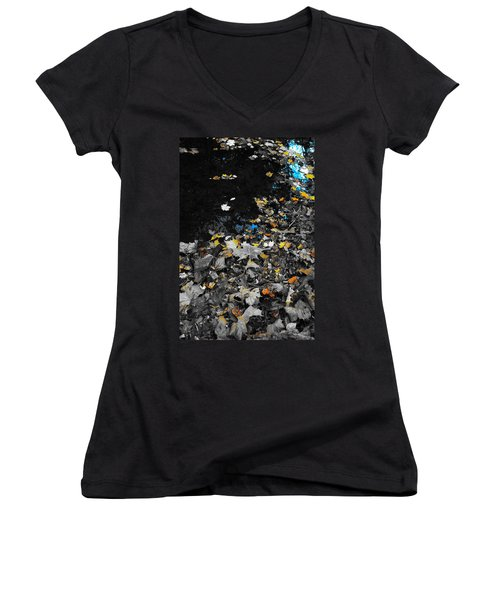 Women's V-Neck T-Shirt (Junior Cut) featuring the photograph Autumn's Last Color by Photographic Arts And Design Studio