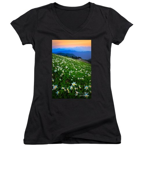 Avalanche Lily Field Women's V-Neck (Athletic Fit)