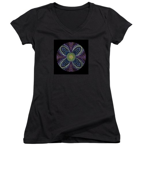Awakening Women's V-Neck T-Shirt (Junior Cut) by Keiko Katsuta