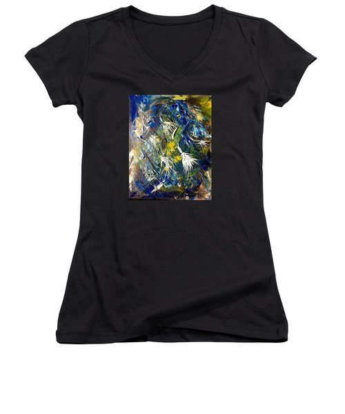 Women's V-Neck T-Shirt (Junior Cut) featuring the painting Awakening The Bear by Kicking Bear  Productions