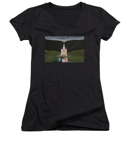 Women's V-Neck T-Shirt (Junior Cut) featuring the painting Awakening by Tim Mullaney