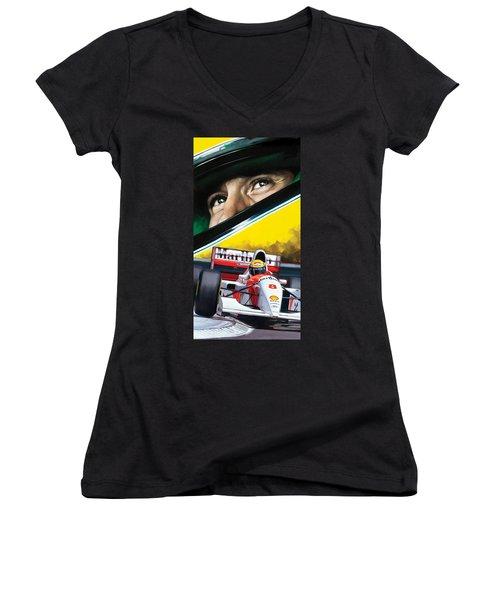 Women's V-Neck T-Shirt (Junior Cut) featuring the painting Ayrton Senna Artwork by Sheraz A