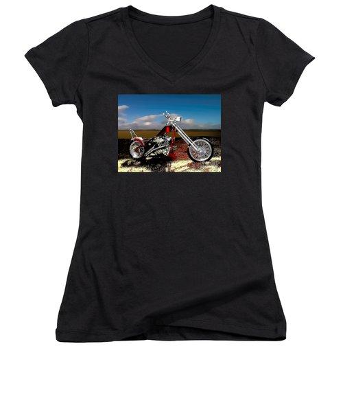 Aztec Rest Stop Women's V-Neck T-Shirt (Junior Cut) by Lesa Fine