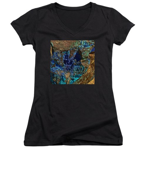Women's V-Neck featuring the photograph Azurite by Bob and Nadine Johnston