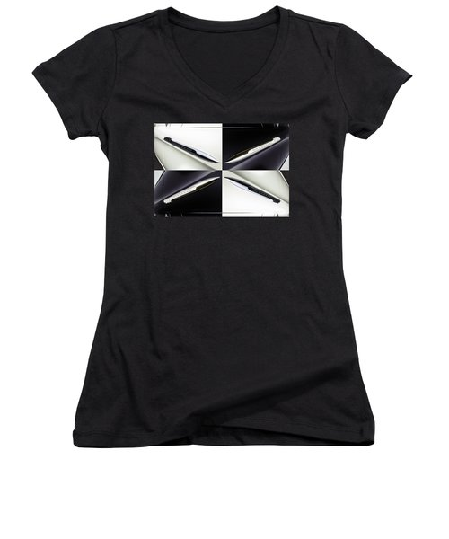 B And W Chevy Women's V-Neck T-Shirt