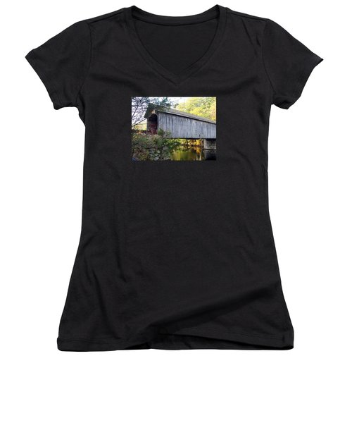 Babbs Covered Bridge In Maine Women's V-Neck T-Shirt (Junior Cut) by Catherine Gagne