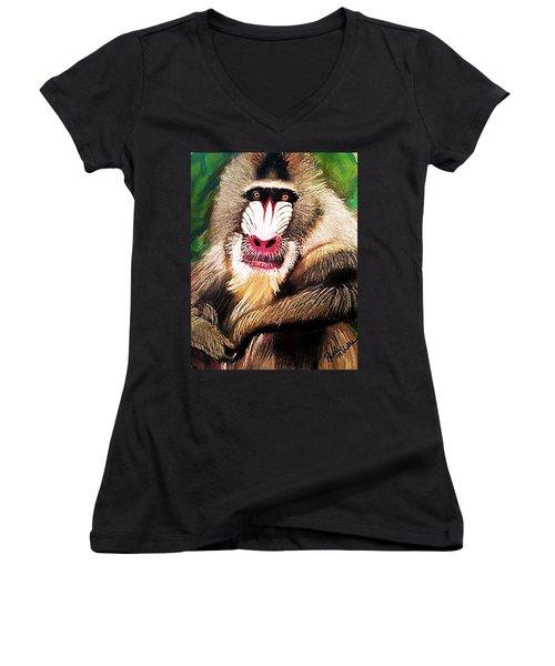 Baboon Stare Women's V-Neck T-Shirt (Junior Cut) by Renee Michelle Wenker