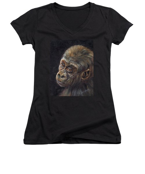 Baby Gorilla Women's V-Neck (Athletic Fit)