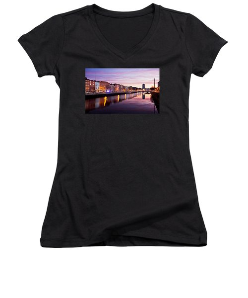 Bachelors Walk And River Liffey At Dawn - Dublin Women's V-Neck (Athletic Fit)