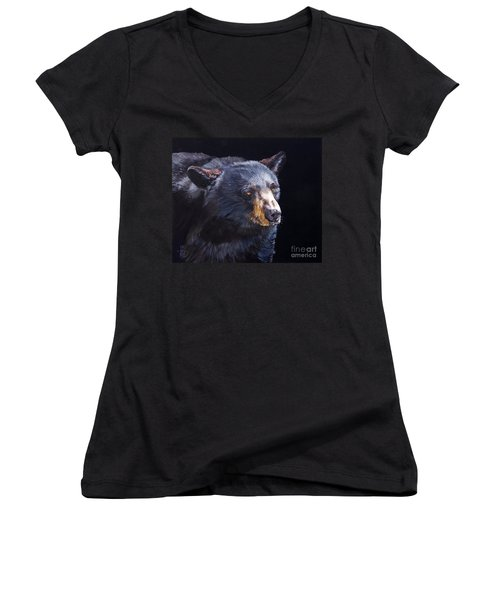 Back In Black Bear Women's V-Neck