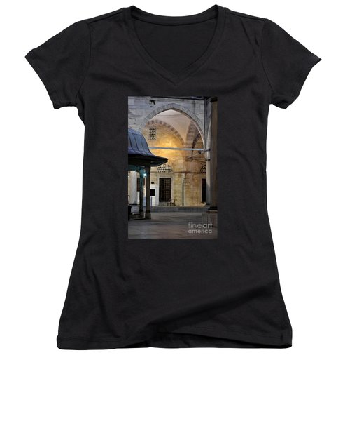 Women's V-Neck T-Shirt (Junior Cut) featuring the photograph Back Lit Interior Of Mosque  by Imran Ahmed