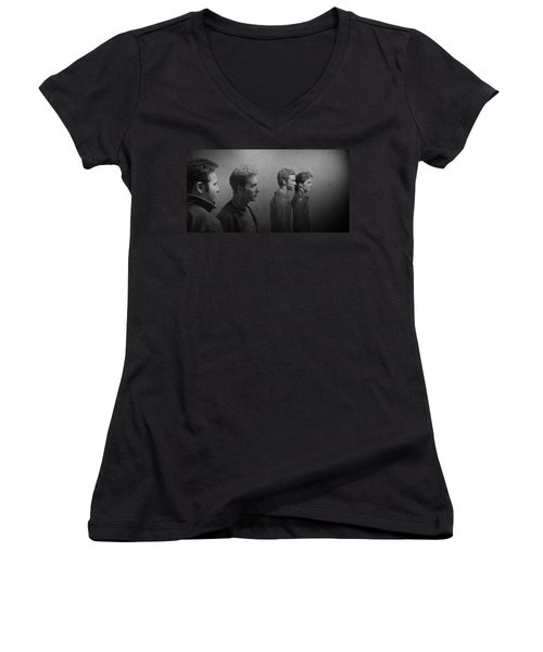 Back Stage With Nsync Bw Women's V-Neck