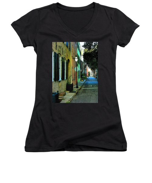 Women's V-Neck T-Shirt (Junior Cut) featuring the photograph Back Street In Charleston by Rodney Lee Williams