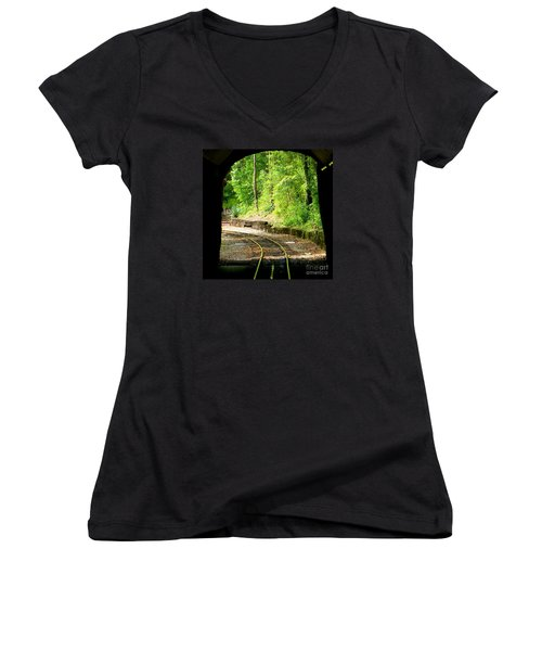 Women's V-Neck T-Shirt (Junior Cut) featuring the photograph Back Tracking by Joy Hardee