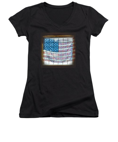 Backlit American Flag Women's V-Neck T-Shirt (Junior Cut) by Photographic Arts And Design Studio