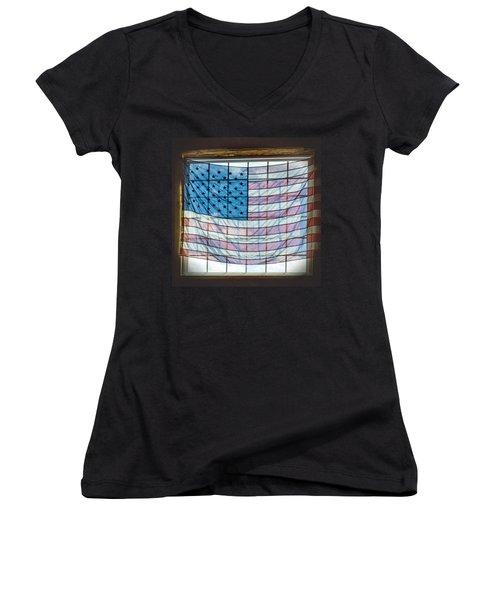 Backlit American Flag Women's V-Neck T-Shirt