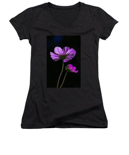 Backlit Blossoms Women's V-Neck (Athletic Fit)